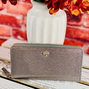 Kate Spade Silver Glitter Bug Lacey Wallet